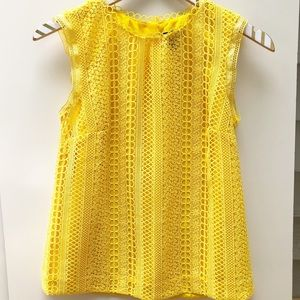 J. Crew Yellow Mixed Lace Short Sleeve Top